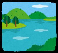 湖と山に囲まれた自然の絵