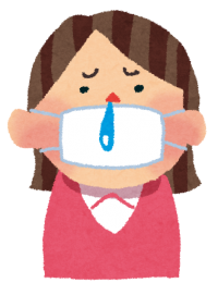 マスクを付け鼻水を垂らしている女性の絵