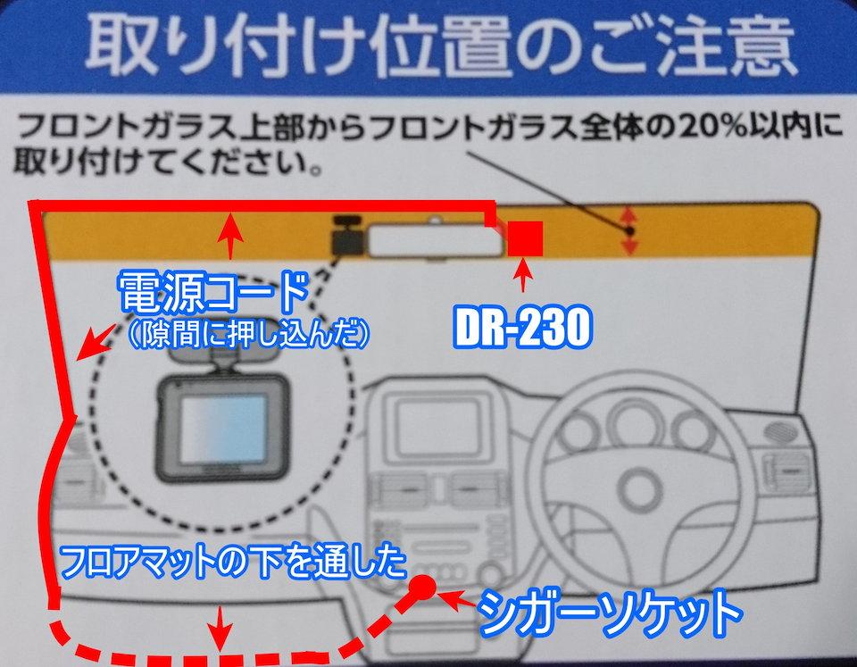 ケンウッドのドライブレコーダーDRV-230取付位置の説明図