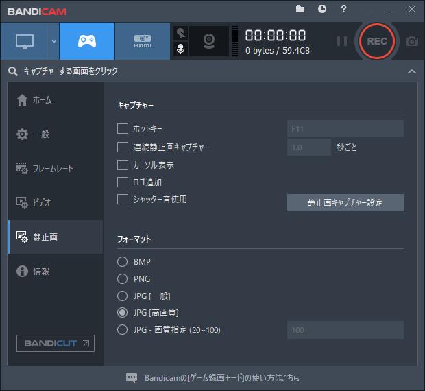 Bandicam静止画設定画面