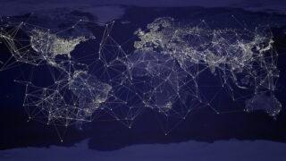 世界地図上のネットワーク