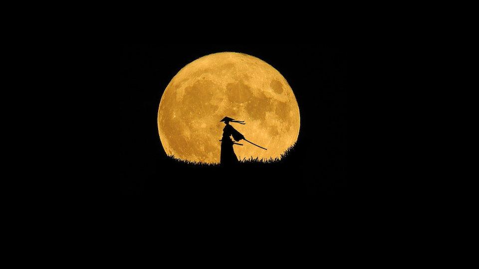 サムライ シルエット 月