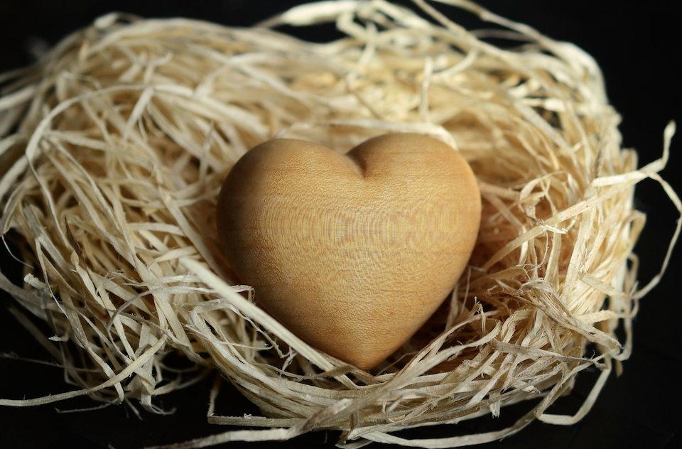 ハート 保護 やわらかい 木の素材