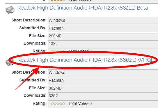 STATION-DRIVERS Realtek High Definiton Audio (HDA) R2.8x (8862.1) WHQL